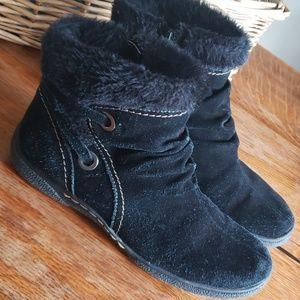 Baretraps Suede Faux Fur lined Boots Sz 10 Black